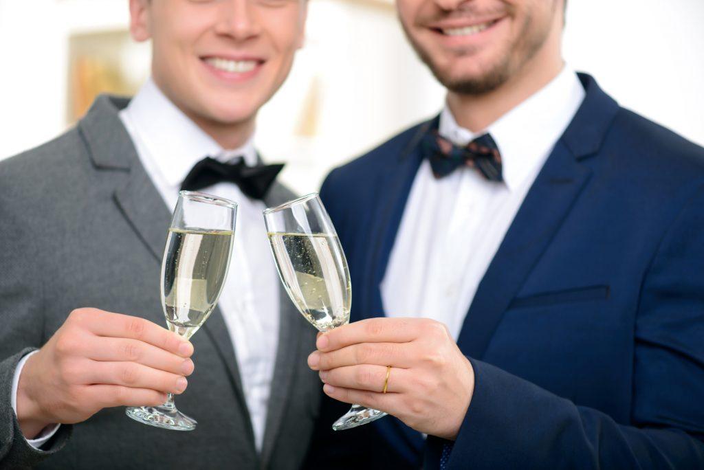 smae sex wedding grooms cheer