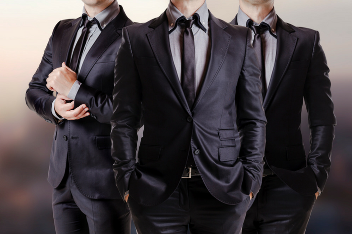 celebrities in slim fit suits trio