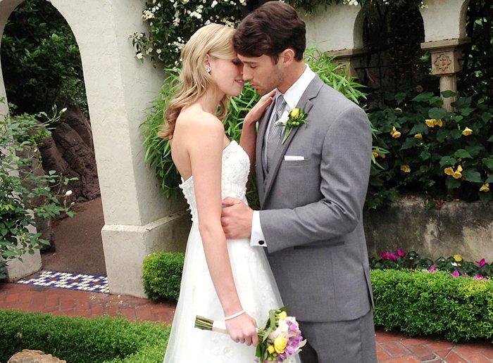 The Aspen - Gray Tuxedo Groom and Bride