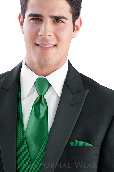 Tuxedo with Green Pocket Square and Tie