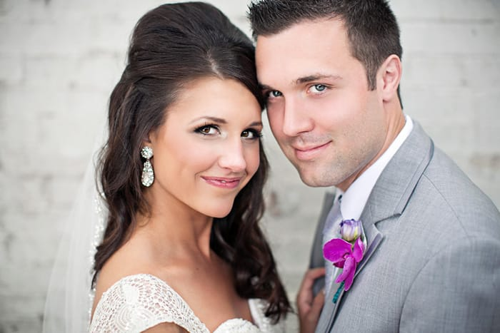 Real Wedding - Tara and Spencer in Heather Grey Savoy Slim Fit Tuxedo by Jean Yves
