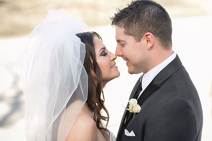 Real Wedding: Jillian and Greg Kissing