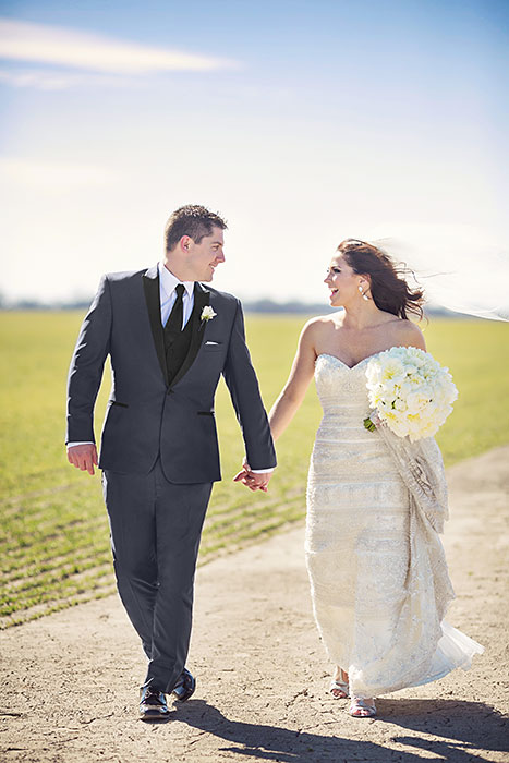 Real Wedding: Jillian and Greg in a Tony Bowls Slim Fit Grey Portofino Tuxedo