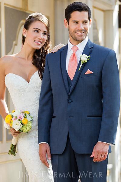 Aspen Slim Fit Tuxedo in Slate Blue -Destination Wedding Attire
