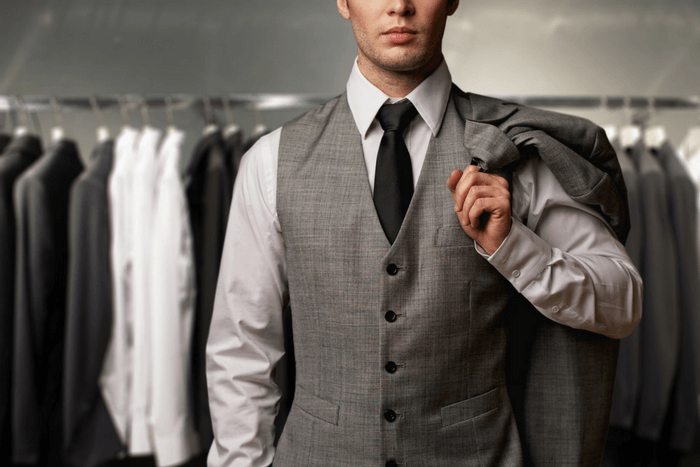 suits for an athletic body type vest and tie