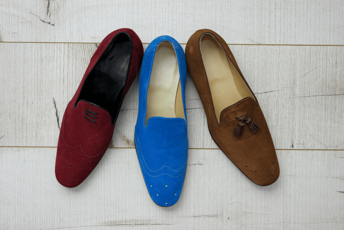 men's suit and shoe combinations colorful loafers