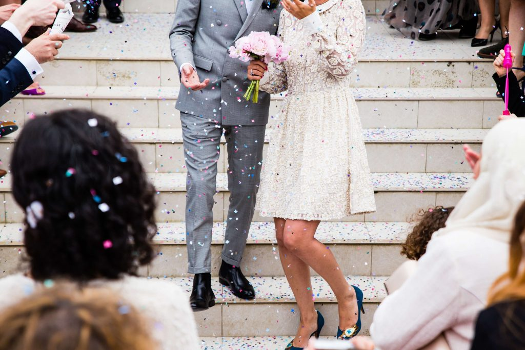 celebrity wedding suits confetti