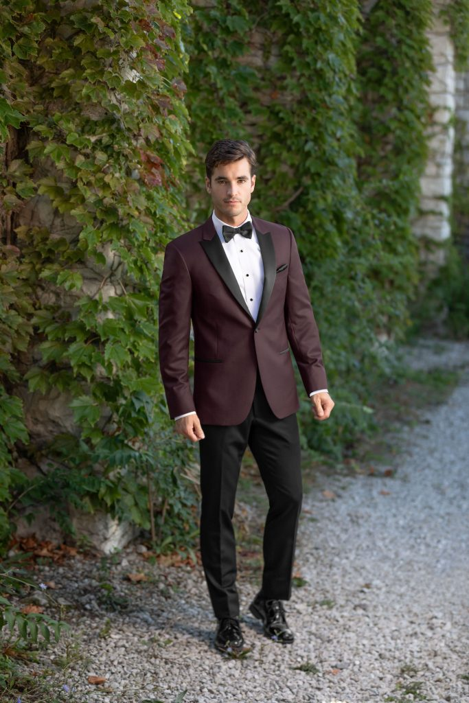 burgundy empire prom look