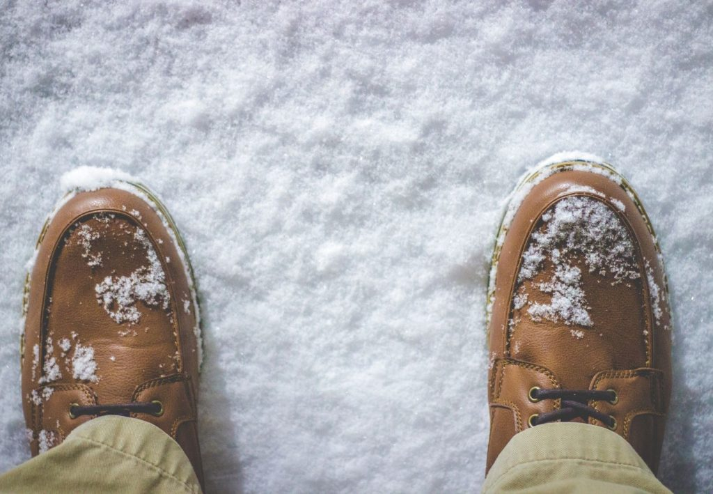 Men's Holiday Style Guide - stylish shoes outside in the snow