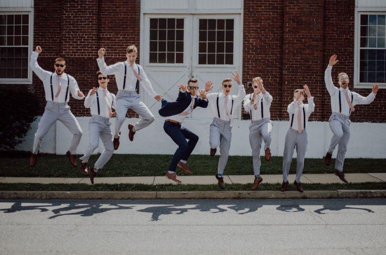 Groomsmen jumping with groom - How to pick your groomsmen