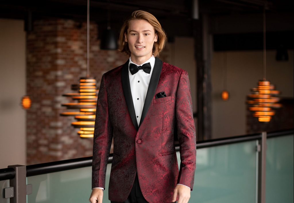 New Tux Trends for 2020 - Man in burgundy tuxedo