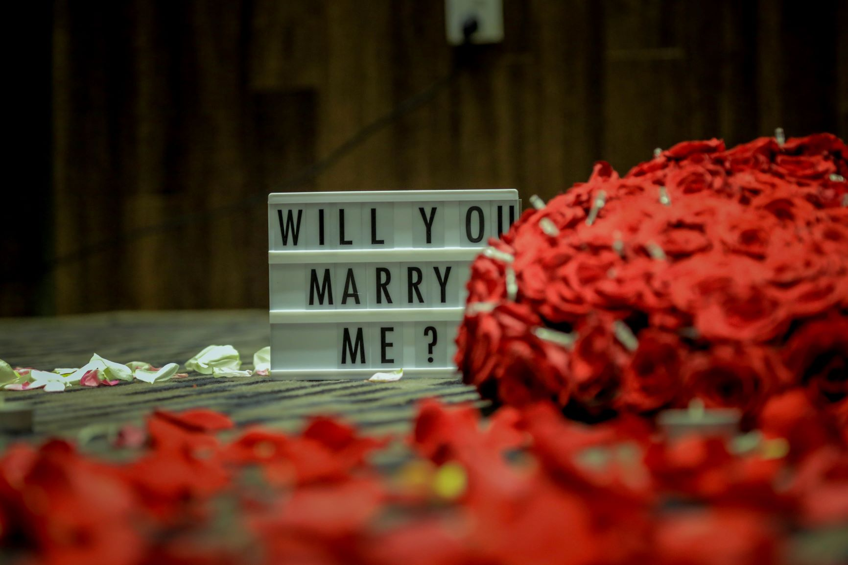 "Creative Proposal Ideas - A sign that reads ""Will You Marry Me?"" next to read roses"