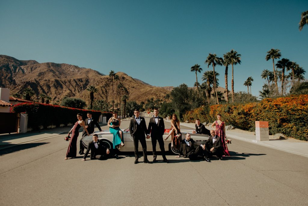 wedding party by car