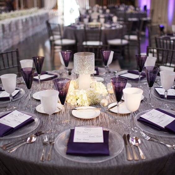 fall wedding colors - grey and purple reception table