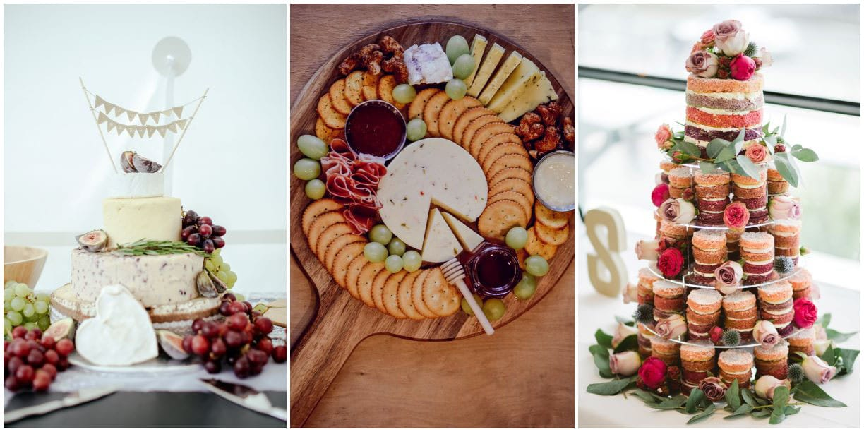 cheese tower, charcuterie board, mini cake tower