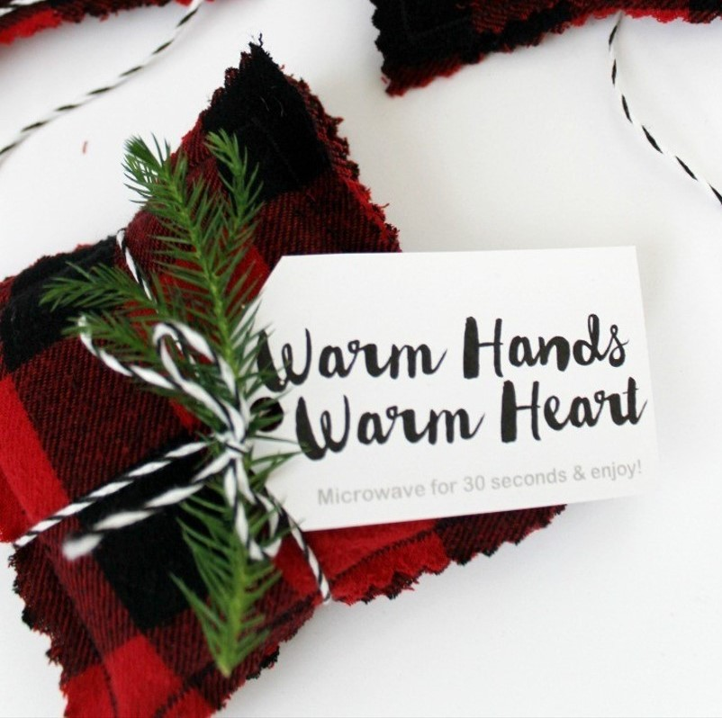 flannel hand warmers with gift tags for winter wedding