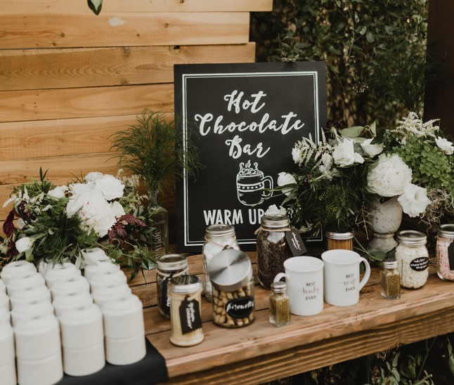 Hot chocolate bar at winter wedding