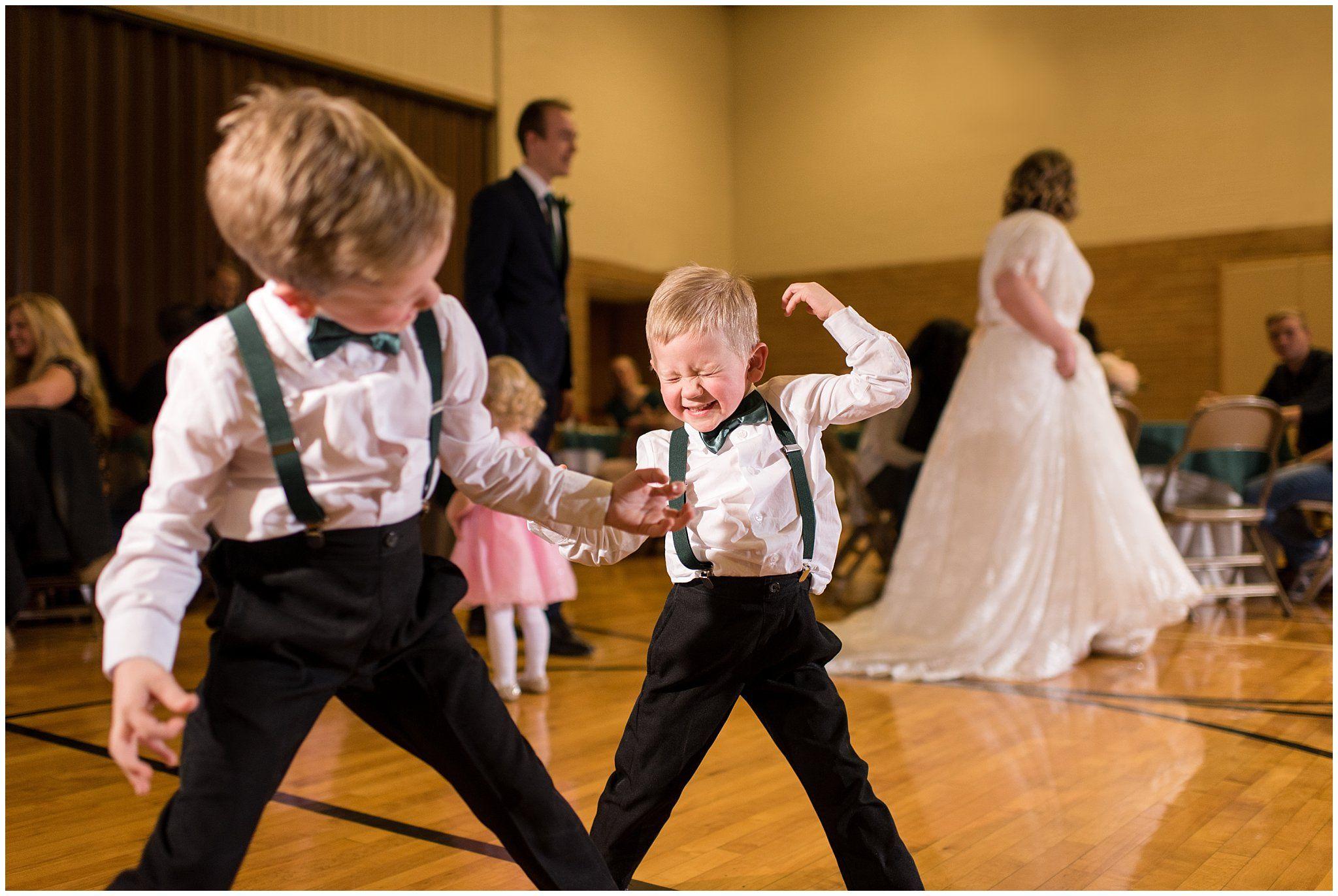 entertain kids at your wedding - ringbearers dancing