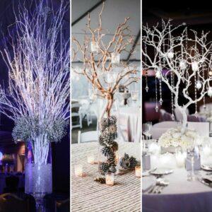winter wedding decorated trees
