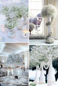 winter wedding baby's breath floral arrangements