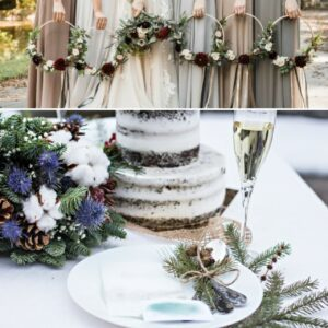 bride and bridesmaids holding floral wreath.winter wedding decor for table