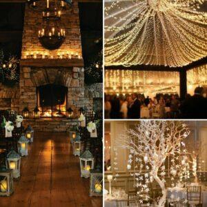 winter wedding decor lighting