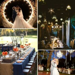 top left image of bride and groom kissing in front of large wreath, bottom left image of wedding table decorated with blue tablecloth and orange flowers, top right image of table with star shaped lights above it, bottom right image of bride & groom dancing under tree decorated in lights