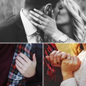 three images of engagement rings