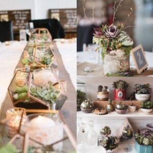 eco-friendly wedding, succulent table decor