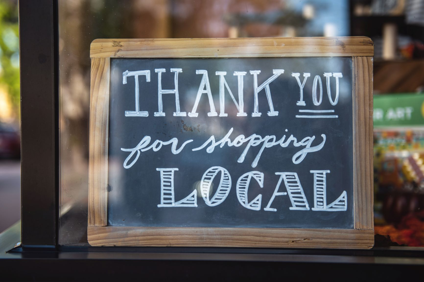 support small businesses - shop local chalkboard sign