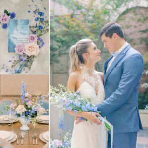 bride holding periwinkle colored flowers looking at groom in blue suit, blue wedding invitation, table with lavender and periwinkle blue flowers and light blue chairs