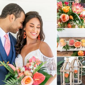 groom in blue suit next to bride holding bright colored bouquet, orange roses in wooden lanterns, sherbert with fruit