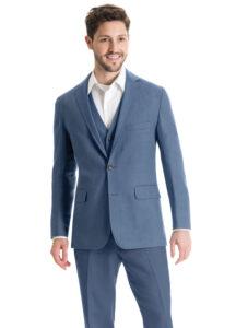 guy in blue linen suit with no tie