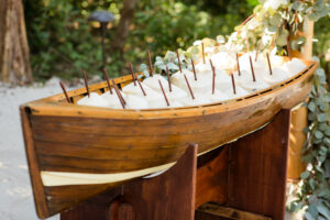 canoe with coconut drinks