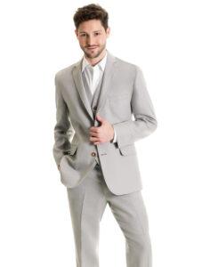 guy in grey linen suit with no tie