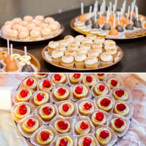 cupcakes, cake pops and mini cheese cakes