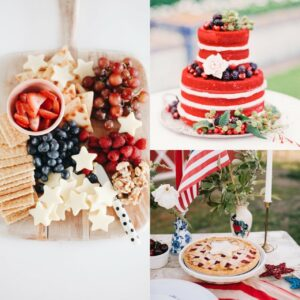 Collage of Festive America Wedding Must Have foods, fruit, cake, pie.