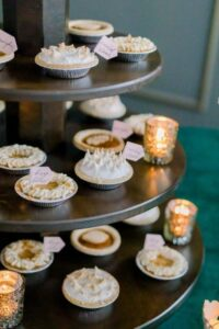 mini pies on a tier stand