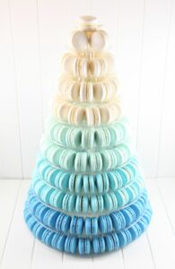 tower of macaroons in ombre blue