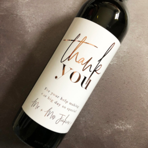wine bottle with label that says thank you