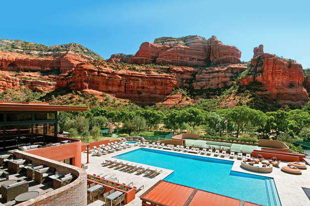 pool deck and resort restaurant surrounded by the sedona desert