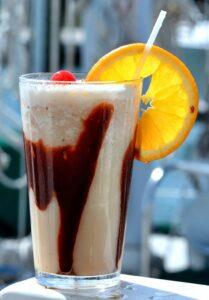 alcholic drink called bushwacker that contains chocolate milkshake, rum, kahlua,crème de cacao, and cream of coconut