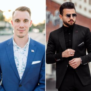 left image white man in blue suit with floral blue patterned shirt without a tie, right image man in black suit without tie and black shirt
