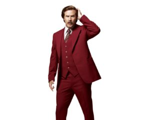 Actor Will Ferrell dressed in burgundy 3-piece suit as Ron Burgundy