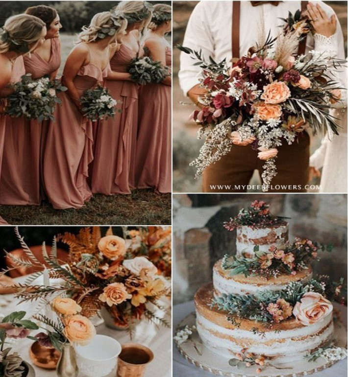 collage of wedding images using rust and sage green including bridesmaids' dresses, bouquets, cakes